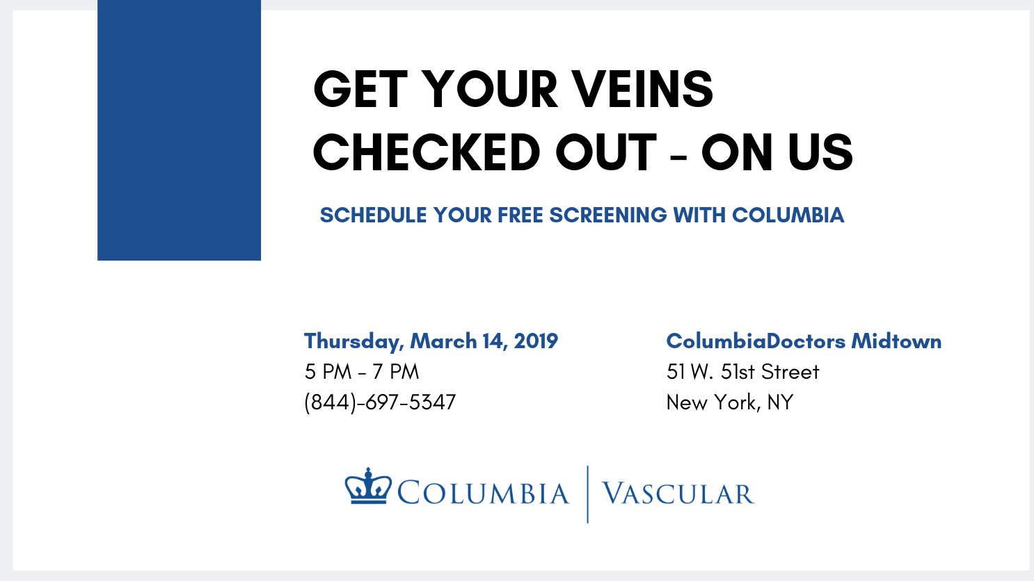 Complimentary Vein Screening in Midtown