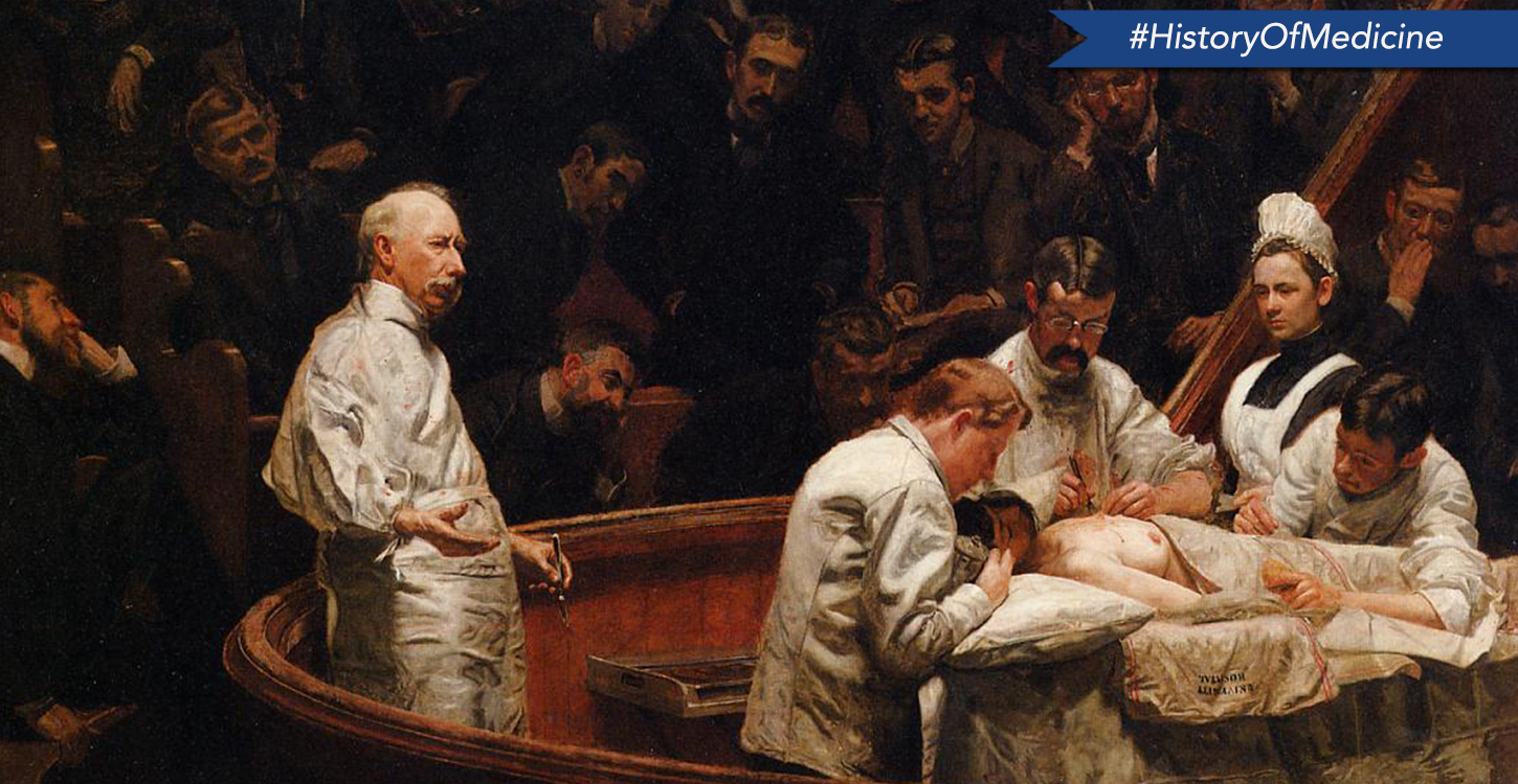 Thomas Eakins' 1889 painting of the Agnew Clinic is among the very first to depict physicians and assistants wearing white uniforms.