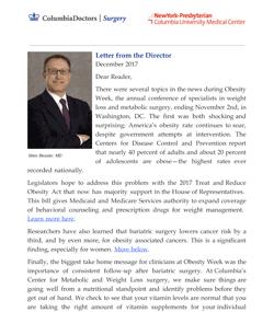 Weight Loss Surgery Newsletter December 2017 Columbia University