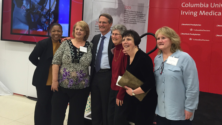 Craig R. Smith, MD, Chair of the Department of Surgery, with cardiac nurses.