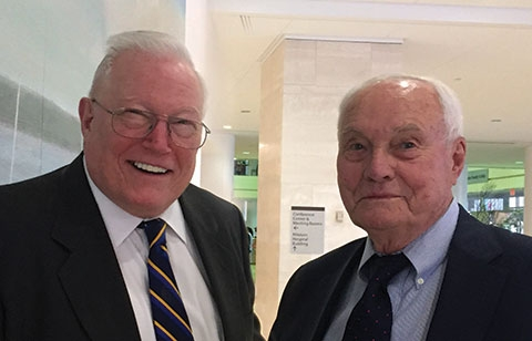 Dr. James Malm (right), first Chief of Cardiothoracic Surgery at NYP/Columbia with Dr. William Lovejoy, Professor Emeritus and Cardiologist.