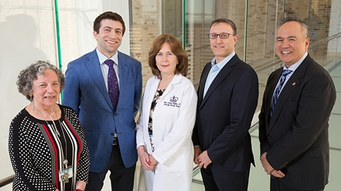 Columbia's renowned weight loss team from left to right. Nancy Restuccia, MS, RD, CDN, Abe Krikhely, MD, Eileen Harvey, MS, ANP-C, Marc Bessler, MD, and Gio Dugay, MS, ANP-C