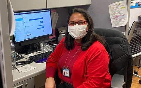 Meet Daviany, one our administrators. Daviany wears a mask and puts on new gloves with each patient interaction on the 8th Floor.