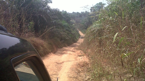 Typical road to rural villages in Sierra Leone
