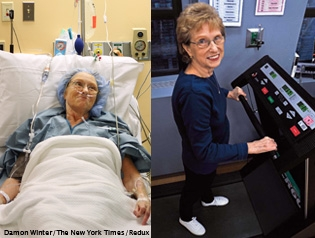 Madeline Gallagher, age 65, pre-op (left), and post-op (right), underwent LVRS at the Center for Chest Disease on October 17, 2007. Her treatment was featured in a November 28, 2007 New York Times feature on COPD and LVRS.